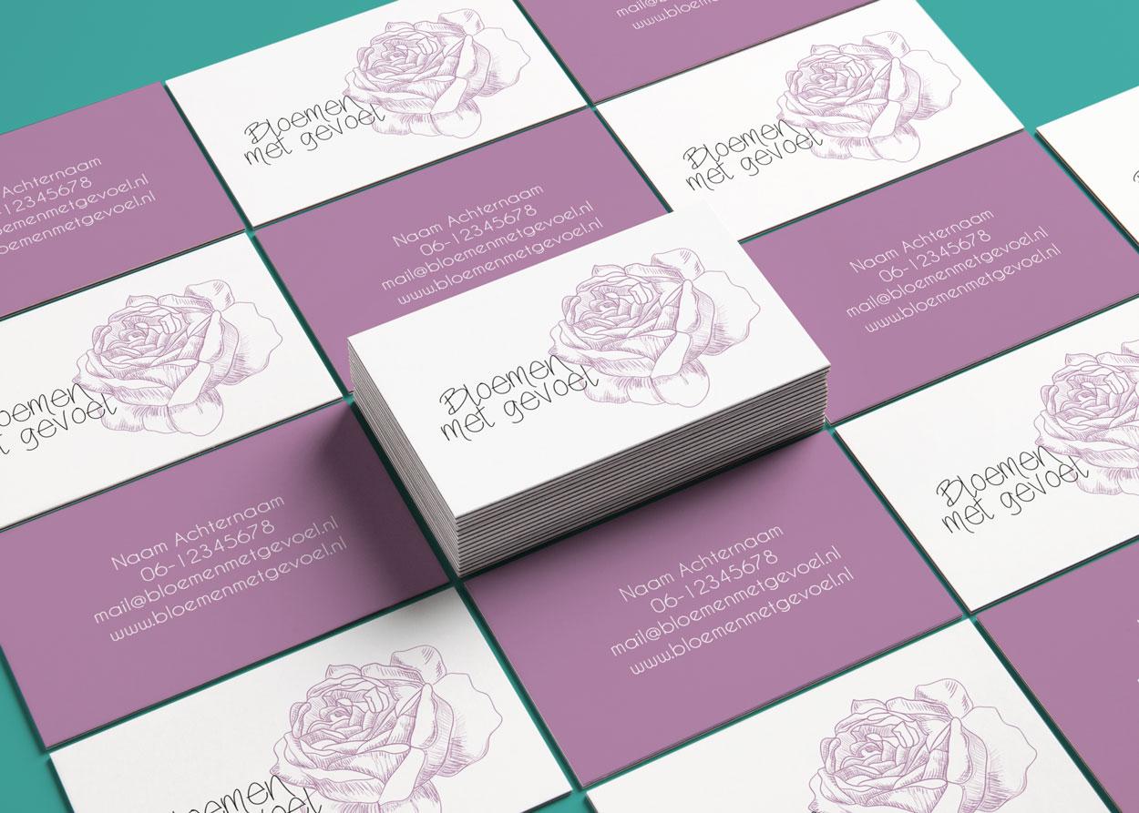 Visitekaartje en huisstijl voor Bloemen met Gevoel door Nien design